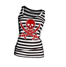 Women's Black/White Striped Jolly Roger Tank Top