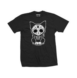 Day Of The Dead Sugar Skull Kitten Graphic Print Pure Cotton Shirt