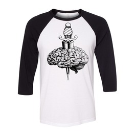 Brain N Dagger Tattoo Baseball Tee