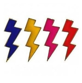 Punk Retro Gold Plated Neon Color Thunderbolt Glaze Lightning Bolt Earrings