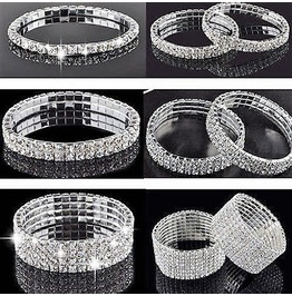 Elegant Classic Bridal Rows Elastic Premium Cz Rhinestone Tennis Bracelets