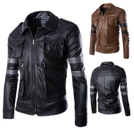 Men's Arm Stripes Slim Fit Casual Pu Leather Jacket
