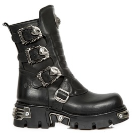 New Rock Wild Black Crust Four Buckle Gothic Boots