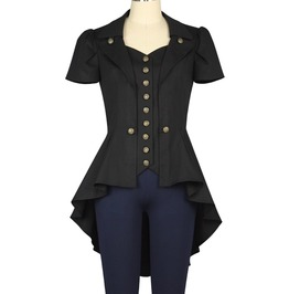Women Black Gothic Tailcoat Long Military Jacket Vampire Cardigan Top