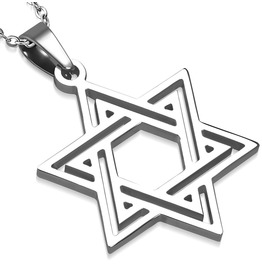 Stainless Steel Cut Out Star Of David Charm Pendant With Necklace
