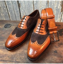 Handmade Men Two Tone Formal Shoes, Men Brown And Tan Wingtip Brogue Shoes