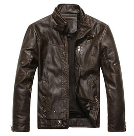 Pu Leather Buckled Stand Collar Multi Zip Patchwork Motorcycle Jacket Men
