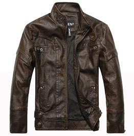 Pu Leather Mandarin Collar Motorcycle Jacket Men