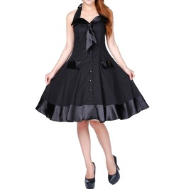 Women Gothic Frock Black Retro Rockabilly Vintage Sailor Swing Cotton Dress