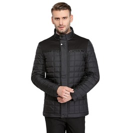 Slim Fit Cotton Padding Quilted Stand Collar Jacket Coat Men
