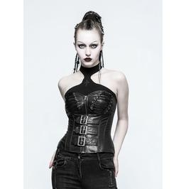 Women Gothic Leather Corset Faux Leather Dark Goth Fetish Vest Women Corset