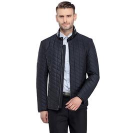 Dark Blue Stand Collar Cotton Quilted Short Jacket Men