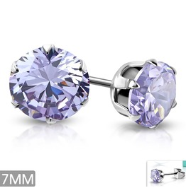 7mm Stainless Steel Prong Set Round Circle Stud Earrings W Light Purple Cz