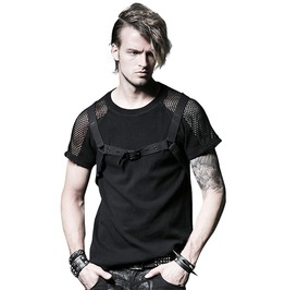 Gothic Punk Hollow Out Mesh Net See Through T Shirt Men