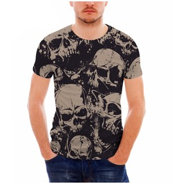 6ab73bd2bbebe Skulls 3 D Print Short Sleeve Punk Rock T Shirt Men
