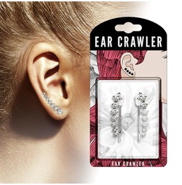 Pair Of Seven Round Clear Crystals Ascending Ear Crawler Ear Climber Pair