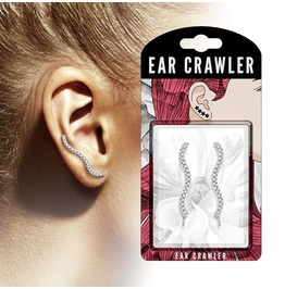 Micro Clear Cz Paved Wave Prepacked Ear Crawler Ear Climber Pair