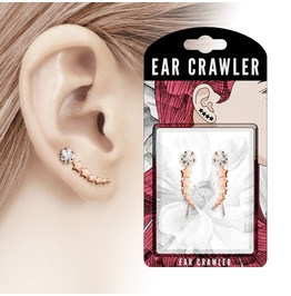 Rose Gold Tone Shooting Star Clear Cz Prepacked Ear Crawler Ear Climber
