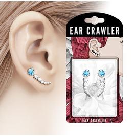 Silver Tone Shooting Star With Aqua Cz Prepacked Ear Crawler Ear Climber