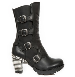 New Rock Seora Black Crust Metal Heels Gothic Boots