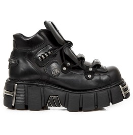 New Rock Botin Black Leather Goth Shoes