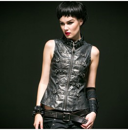 Punk Rave Women's Steampunk Retro Stand Collar Rivets Faux Leather Vest 540