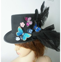 Handmade Party Spring Inspired Feather Top Hat