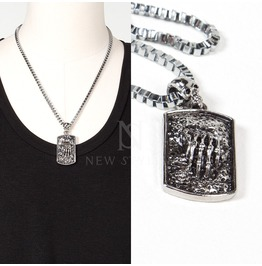 Engraved Metal Emblem Pendant Skull Chain Necklace 73