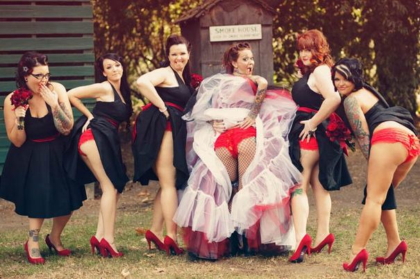 Brides and bridesmaid showing butts is the new cool most baffling wedding trend must see