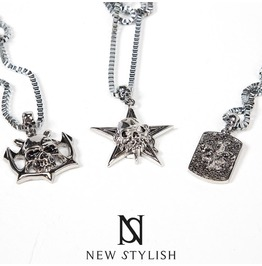 Toxic Star Skull Pendant Metal Necklace 74