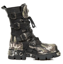 New Rock Black Vintage Flower Camouflage Leather Boots