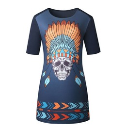 Punk Indian Chief Warrior Skull Print Short Retro Vintage Shirt Dress