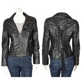 Women Gothic Leather Biker Jacket Black Sexy Retro String Laced Back Coat
