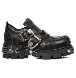 New Rock Metallic Itali Black Box Leather Shoes