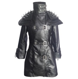 Women Gothic Steampunk Leather Coat Goth Sheep Heavy Duty Leather Jacket