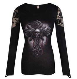 Punk Skull Cross Print Lace Patchwork O Neck Slim Fit Sexy Top Tees Shirt