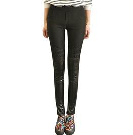 Punk Goth Faux Leather Lace Patchwork Black Slim Pencil Pants Leggings