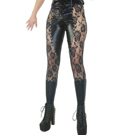 Punk Rock Studded Lace Patchwork Tie Up Sides Faux Leather Pants Leggings
