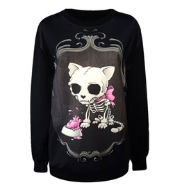 Skeleton Skull Dog Pink Bow Punk Sweatshirt