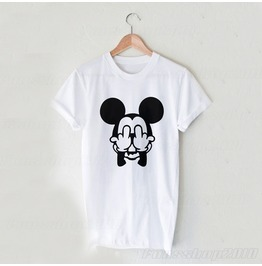 Harajuku Mickey Middle Finger White Unisex T Shirt