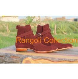 Handmade Men's Maroon Suede Jodhpurs Boot, Handmade Mens Maroon Ankle Boots