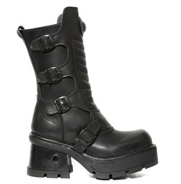 New Rock Women's Black Goth Leather Biker Boots