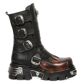 New Rock Metallic Rock Black Fire Reactor Leather Boots