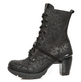 New Rock Women's Wild Flower Black Gothic Boots