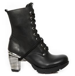 New Rock Seora Women's Wild Black Crust Leather Boots