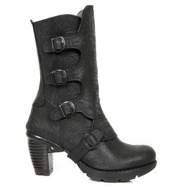 New Rock Women's Wild Black Leather Buckle Closure Gothic Boots