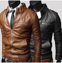 Men's Fashion Jackets Slim Biker Motorcycle Pu Leather Jacket