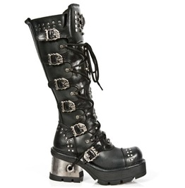 New Rock Women's Metallic Extreme Goth High Boots