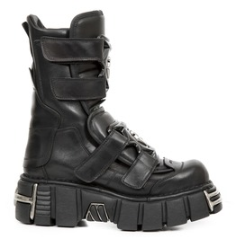New Rock Metallic Black Goth Velcro Leather Biker Boots