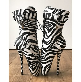 18cm Ballet Zebra Print Texture Calf Fetish Boot Charm Burlesque Dominatrix